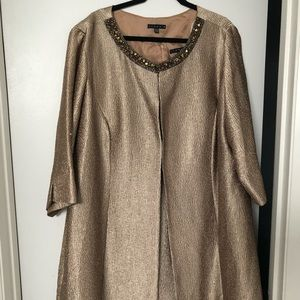 Gold midi length cocktail dress and coat